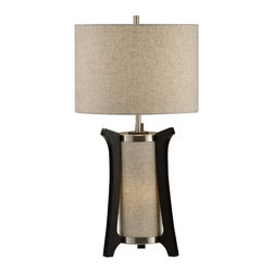 Nova Lighting - Nova Lighting Hashimoto Modern / Contemporary Table Lamp X-5020101 - From the Hashimoto Collection, this Nova Lighting modern table lamp features two individual lights, one for general and one for ambiance. Ideal for bedrooms or family rooms, this contemporary table lamp is finished in a warm blend of oatmeal linen and Pecan tones.