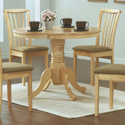 Monarch Specialties - Monarch Specialties 1460 5 Piece Round Pedestal Dining Room Set in Natural - Create a casual fashion statement in your dining area with this round pedestal dining table. This natural colored table features a waterfall profile and is anchored down by a sturdy turned pedestal base with scroll detailing.