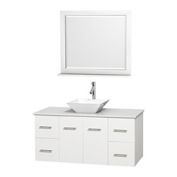 """Wyndham Collection - Centra Bathroom Vanity in White,WT Stone Top,Pyra White Sink,36"""" Mir - Simplicity and elegance combine in the perfect lines of the Centra vanity by the Wyndham Collection. If cutting-edge contemporary design is your style then the Centra vanity is for you - modern, chic and built to last a lifetime. Available with green glass, pure white man-made stone, ivory marble or white carrera marble counters, with stunning vessel or undermount sink(s) and matching mirror(s). Featuring soft close door hinges, drawer glides, and meticulously finished with brushed chrome hardware. The attention to detail on this beautiful vanity is second to none."""