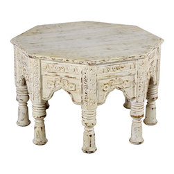 Wooden Octangle Bajoth Stool - This Bajoth table is used as offering a seat to the lords and worship gods in India. This  Bajoth has been hand made to be used to a sitting stool. It has a unique faded white finish to suit any kind of room decor.