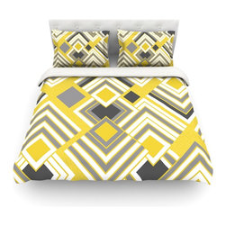 "Kess InHouse - Jacqueline Milton ""Luca - Gold"" Yellow Gray Cotton Duvet Cover (Queen, 88"" x 88"" - Rest in comfort among this artistically inclined cotton blend duvet cover. This duvet cover is as light as a feather! You will be sure to be the envy of all of your guests with this aesthetically pleasing duvet. We highly recommend washing this as many times as you like as this material will not fade or lose comfort. Cotton blended, this duvet cover is not only beautiful and artistic but can be used year round with a duvet insert! Add our cotton shams to make your bed complete and looking stylish and artistic! Pillowcases not included."