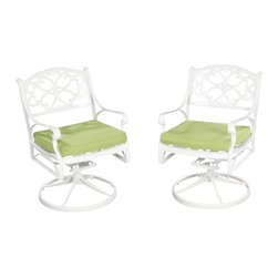 Home Styles - Home Styles Biscayne Swivel Chair with Cushion in White Finish - Home Styles - Outdoor Chairs - 555253C - Home Styles Biscayne Swivel Arm Chair is constructed of cast aluminum with a White finish and Sunbrella  Green Apple fabric Cushions. Features include powder coat finish sealed with a clear coat to protect finish and nylon glides on all legs. Item Size: 24.4w 22d 33.46h.  Seat height 16h.  Stainless steel hardware.
