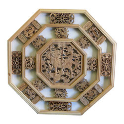 Golden Lotus - Chinese Octagon Kirin Wood Wall Plaque Panel - This is an octagon shape  wooden wall decor with Chinese  Kirin theme surrounded by simple geometric pattern.