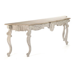 Abraham Table - Make an instant impression in your entryway or border your living room in unforgettable splendor with the Abraham Table, a console whose lacy, baroque apron offers opulence to spare even as the light distressed finish picks up the interest of exposed beams, reclaimed wood, or architectural salvage. Cabriole legs echo one another at each side for a complex, exquisite silhouette.