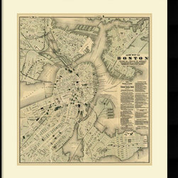 Amanti Art - Tilly Haynes 'Boston, Massachusetts, 1884' Framed Art Print 28 x 30-inch - Vintage maps are a classic accent that never goes out of style. Whether you are a map lover or wish to document and showcase where you have been (or would like to go), maps make a great addition to any space.