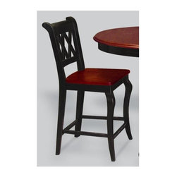 Sunset Trading - 21 in. Eco-Friendly Cafe Chair - Cabernet triple-X back styling and sturdy quality craftsmanship. Bolt together design. Warranty: One year. Made from Malaysian oak. Black frame and cherry finished seat. Made in Thailand. Assembly required. Seat height: 24 in.. Overall: 21 in. W x 18.5 in. D x 40 in. H (24 lbs.)This beautifully designed cafe stool supplied by Sunset Trading will assure you many years of use and enjoyment. Complete your dining decor with this traditional yet stylish cafe chair from the Sunset Trading - Sunset Selections Collection. Its casual charm is versatile enough to complement traditional, country or modern day decor. Perfect for everyday casual dining or entertaining guests at your cafe table or kitchen snack bar. Offering traditional classic beauty and style, yet always dependably functional, your family and friends will enjoy the seating comfort of this inviting cafe chair for years to come! Pair with your choice of coordinating Sunset Selections cafe dining tables (not included) to bring a touch of modern country warmth with traditional and classic American style to your home!