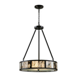 Uttermost - Coslada 3-Light Marble Drum Pendant - This is a lovely pendant that will add a dramatic look to your dining area or living space. The oil-rubbed bronze metal frame holds marble sections and a diffuser below to add just the right warm light to your home.