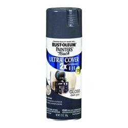 Rustoleum Brands - 249115 Sp Gloss Dark Gray 2X - PAINTER'S TOUCH (R) 2 X ULTRA SPRAY PAINTS  Painter's Touch Ultra Cover 2X delivers twice -  the coverage as other competitive brands  Advanced Double Cover Technology provides the -  best formula for ultimate hiding power  Complete projects faster and easier  For wood-wicker-metal-plaster-unglazed ceramic  Smooth durable finish-fast dry-resists chipping  12 Oz. spray with any angle spray tip    249115 SP GLOSS DARK GRAY 2X  SHEEN:Gloss  Color: Dark Gray