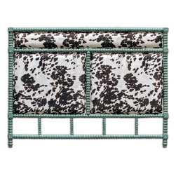 Uttermost - Uttermost Chahna King Headboard - Rich Cushioning Under Plush Dark Chocolate And Milky White Velvet With An Aqua Blue Finish On Solid Turned Hardwood. French Cleat Wall Attachment. Bob and Belle Cooper founded The Uttermost Company in 1975 and it is still 100% owned by the Cooper family. The Uttermost mission is simple and timeless: to make great home accessories at reasonable prices. Inspired by award-winning designers custom finishes innovative product engineering and advanced packaging reinforcement Uttermost continues to deliver on this mission.  For over 30 years Uttermost has enjoyed steady growth with over 200 employees working in its Rocky Mount Virginia factories totaling 600000 square feet. It also has a factory in China and a state-of-the-art West Coast distribution center for increased capacity and faster shipping to West Coast retailers and customers.  Uttermost is proud to support many of the world's most prestigious home-furnishing customers with its products and services. Uttermost believes its success is largely based on its commitment to three key principles: proving superior customer service maximizing product value through great design and sharp pricing and treating its employees sales representatives and designers as partners in business. Features include Rich Cushioning Under Plush Dark Chocolate & Milky White Velvet With An Aqua Blue Finish On Solid Turned Hardwood French Cleat Wall Attachment Uttermost Accent Furniture Combines Premium Quality Materials With Unique High-Style Design Each Product Is Designed Manufactured & Packaged With Shipping In Mind Designer: Matthew Williams. Specifications Material: Rubber Wood With Mdf Carb P 2 Foam & Fabric.