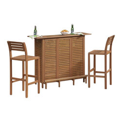Home Styles - Home Styles Montego Bay 3 Piece Outdoor Bar Set - Home Styles - Outdoor Bars - 5661998 - Create an island oasis in your own backyard with Home Styles 3PC Montego Bay Bar Set. Set includes U Shaped bar and Two Stools. Showcasing an island inspired design in a versatile Eucalyptus finish and construction of eco-friendly plantation grown Shorea wood which is known for its exceptional durability and natural resistance to water this Bar Cabinet is designed to provide endless hours of outdoor entertainment use. Bar features include a utility drawer door that opens to storage area with one adjustable shelf and open storage area with two adjustable shelves. Size: 52.5w 21d 43.5h. Stools feature Bar Stool is designed to provide endless hours of outdoor entertainment use.  Arc shaping in the back legs and contoured seat imparts a slightly modern touch to the overall traditional slat design.