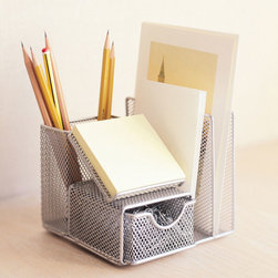 Compact Mesh Organizer - Tired of clutter but tight on space? This attractive mesh desk manager will help you get back on track with separate spaces for notepad, mail, pens, and small office supplies. Your to-do list just got easier!