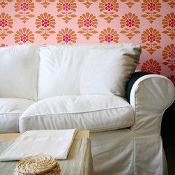 Large Jaipur Flower Garden Allover Stencil - Large Jaipur Flower Garden Allover Stencil from Royal Design Studio for walls, furniture, ceiling, floor, and fabric.