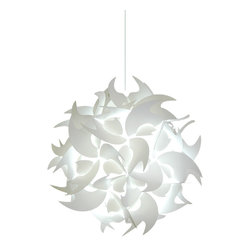 Akari Lanterns - Medium Hooks Hanging Pendant Light - Cool white glow - This 18 inch wide hanging pendant light from Akari Lanterns is a swag plug-in type hanging lamp that is fully assembled with a cool-white CFL bulb and ready to install.  Many say our pendant lamps resemble Chinese paper lanterns but have a more unique bright white glow and are more pleasing to the eye.   These swag lights have a 12 ft. cord with a switch near the plug so that you can install it almost anywhere – even outdoors! (Mounting staples included)  While our hanging lamps normally plug into a regular 120v outlet, we also sell a ceiling mounting kit ($15.95) if you prefer to hardwire it to an electrical box in the ceiling to replace an older light fixture.  This durable lamp shade material is very easy to clean and made from 100% recycled plastic.  We are proud to say we design, manufacture and assemble these products in the USA, patented design.  Each pendant light comes with a 30 day return policy.  If you have any questions or special requests, please let us know!
