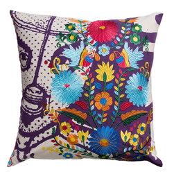 KOKO - Fiesta Pillow, Lucha Libre - This is pretty much a party on a pillow. The embroidery work is as detailed and rich as the color palette. It's sure to bring a vibrant pop of life to a room.