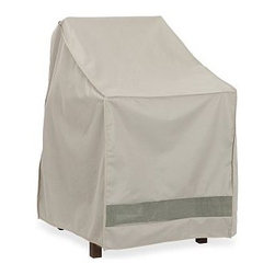 "Outdoor Stacking Dining Chair Cover, Khaki - Prolong the life of your outdoor furniture with our durable covers.  Our khaki Outdoor Stacking Chair Cover is constructed of tightly woven polyester and backed with polyvinyl chloride to protect against damage from rain and snow. Our covers are puncture and crack resistant. 25.5"" wide x 32.5"" deep x 41"" high Reinforced seams and substantial ties add durability. Built-in vents provide air circulation and prevent mildew. Fits our Chesapeake, Tolix, Chatham, and Hampstead stacking chairs (up to 3). Also fits out Salem, Hampstead, and Chesapeake Rocking Chairs. Catalog / Internet Only. View our {{link path='pages/popups/fb-outdoor.html' class='popup' width='480' height='300'}}Furniture Brochure{{/link}}."