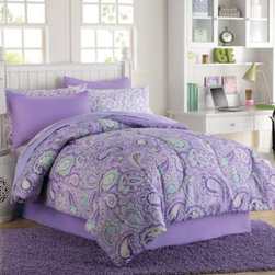 Franco Manufacturing Company, Inc. - Georgia 6-8 Piece Complete Comforter Set - The Georgia comforter set fills your bedroom with lovely color and patterns with a paisley motif in a fresh array of purple hues. Set includes coordinating pillow sham(s), bed skirt, and sheet set for a quick way to update your room's décor.