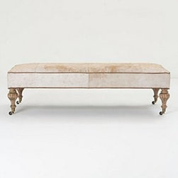 """Anthropologie - Bench Ottoman - Walker finishLeather upholsteryKiln-dried hardwood frame; polyfillProfessionally clean17""""H, 59""""W, 24.5""""DHandcrafted in USA"""