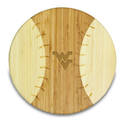 """Picnic Time - West Virginia University Homerun! Cutting Board - The Homerun! cutting board is a 12"""" round x 0.75"""" board made of eco-friendly bamboo in a baseball design, with 104 square inches of cutting surface. It can be used as a cutting board or serving tray, or use both sides of the board, one for cutting and the other for serving. The backside of the board has no """"laces"""". Score a homerun with your guests! (Point of sale Cutting Board Display Rack (899-00-505) available. See item for details.); College Name: West Virginia University; Mascot: Mountaineers; Decoration: Laser Engraving"""