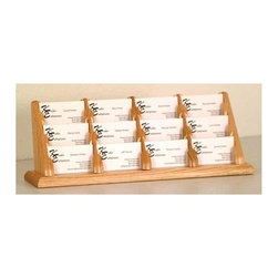 Wooden Mallet - Business Card Display Stand w Twelve Pockets - Finish: Dark Red MahoganyDisplay multiple business cards in an organized fashion with this durable oak display stand, available in your choice of finish options. The piece features 12 compartments, making it ideal for salons or small medical offices where multiple professionals will need to display cards. Tiered to offer a full view of each pocket. Each pocket sits 0.5 in. D to hold a large supply of cards. Made of solid oak sides and bottom sealed in a durable state-of-the-art finish. Pictured in Light Oak. No assembly required. 4.375 in. D x 13.25 in. W x 5.75 in. H (2 lbs.)Wooden Mallet's solid oak countertop business card holders are an attractive way to display multiple cards in an organized fashion. These racks work well to present business cards in any setting or use them for gift cards at point of sale.