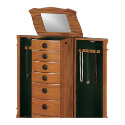 Coaster - Coaster 7-Drawer Jewelry Armoire in Warm Oak - Coaster - Jewelry Armoires - 900135 - Store all your jewelry with this clean, stylish warm oak jewelry armoire. This elegant armoire features specially designed storage spaces for rings, necklaces and more. The classic lines of this accent piece and its inherent sophistication will ensure a lasting appeal.