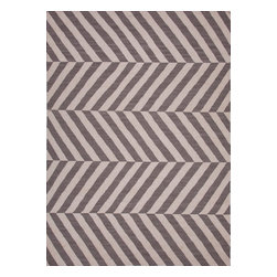 Jaipur Rugs - Flat Weave Stripe Pattern Gray /Black Wool Handmade Rug - MR56, 2x3 - An array of simple flat weave designs in 100% wool - from simple modern geometrics to stripes and Ikats. Colors look modern and fresh and very contemporary.