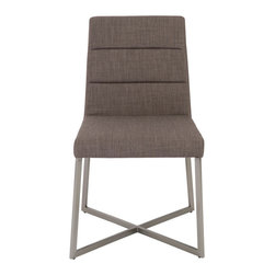 Tosca Side Chair (Set Of 2)-Ltgryfab/Ss - Light gray fabric over foam seat and backBrushed stainless steel base. Seat height 19""