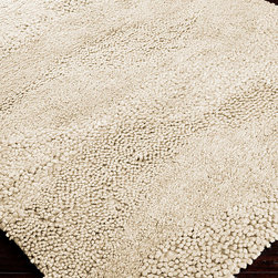 Topography Rug - Cream - 2' x 3' - A plush, pale pile brings subtle waves of light-on-light texture into your home.  The Topography Rug in Cream, a solid-colored, hand-woven rug with a naturally woolly texture, is constructed with waves of alternating consistency that keep the eye moving over the subtly-detailed surface.  Give your room a neat, refined air and a natural depth with this 100% wool area rug.