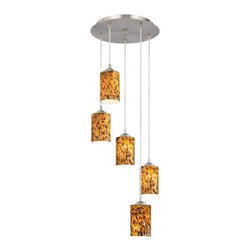 Design Classics Lighting - Modern 5-Light Pendant Light with Brown Art Glass- 580-09 GL1005C - Contemporary / modern satin nickel 5-light mini-pendant light. Includes one satin nickel five port ceiling canopy. Each mini-pendant comes with 7-feet of clear cuttable cord that allows for custom height adjustability for each pendant. Takes (5) 100-watt incandescent A19 bulb(s). Bulb(s) sold separately. UL listed. Dry location rated.