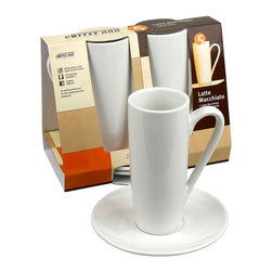 Konitz - Set of 2 Latte Macchiato Cups and Saucers - These tall and stylish cups and saucers are ideal for layered coffee drinks — namely latte macchiatos — perfect for this set. You'll feel so European with the classic white porcelain style.