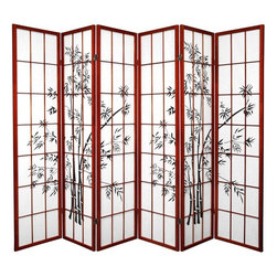 Oriental Furniture - 6 ft. Tall Lucky Bamboo Shoji Screen - Rosewood - 6 Panels - This elegant shoji screen is printed with a classic Asian bamboo design. Constructed from Scandinavian spruce and fiber-reinforced washi paper, this screen is lightweight and durable, and provides privacy without obstructing light. Beautiful and practical, this can be displayed as an art screen or used as a room divider to define a space.