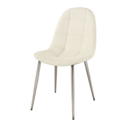 Chintaly Imports - White Upholstered Back Side Chair (Set of 4) - Contemporary side chair, White PU, CA fire retardant foam, metal chrome legs.
