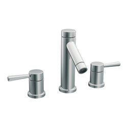 """Moen - Moen Chrome Bath Sink Faucet Trim - Moen T6110 is part of the Level Bath collection. Moen T6110 is a new style bathroom lavatory, sink faucet trim. Moen T6110 has a Chrome finish. Moen T6110 two handle widespread lavatory faucet mounts in a 3-hole 8"""" - 16"""" Center sink, with 1 1/2"""" long and 6 15/16"""" high spout. Moen T6110 has Hydrolock quick connect system and includes 1224 cartridge design. Moen T6110 two handle widespread trim, fits the MPact common valve system and requires Moen's 9000, or 69000 valve to make this faucet complete. Moen T6110 is part of the Level bath collection. The Level collection stands apart with its clean, geometric lines and sleek modern designs refining style that transcends seamlessly into the modern homes. Moen T6110 two lever handle provides ease of operation. Chrome is a proven finish from Moen and provides style and durability. Moen T6110 metal lever handle meets all requirements ofADA CSA B-125.1, ASME A112.18.1, NSF 61/9 and proposition 6"""". Water Sense Certified. Lifetime limited Warranty."""