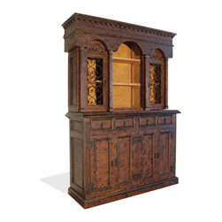 Koenig Collection - Old World Tuscan Hutch Colonial, Fresco Brown Distressed - Old World Tuscan Hutch Colonial