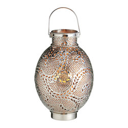 Everybody's Ayurveda - Candle Lantern with Silver Swirl Drum with Gold Embedded Glass - Silver swirl drum candle lantern with gold glass. Iron and glass. Made in India. Shiny silver finish with amber glass beads.