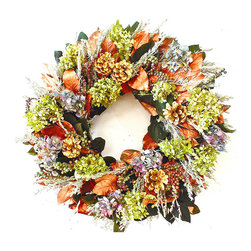 "Frontgate - Linville Christmas Wreath - 22"" dia. - Indoor wreath of multi-colored florals and metallics. For use as a centerpiece or hang on walls and doors. Crafted of dried multi-colored hydrangea flowers, two tone berries, and lush foliage. Includes luminous metallic copper and gold leaves with pine cones. Ideal base for candles, cake stands, and hurricane lamps. Savor summer's bloom year round with an indoor floral wreath or swag bursting with dried multi-colored hydrangea and glistening metallic leaves. The vibrant colors add festive cheer to holiday celebrations and brighten everyday room decor. Versatile wreath is also perfect as a decorative centerpiece to accent holiday candles, cake stands, and hurricane lamps. A bright and cheery addition to welcome any season.  .  .  .  .  . Frontgate exclusive . Two style choices . Made in the USA."