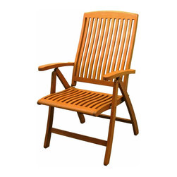 International Caravan - Folding Patio Chair - Set of 2 - Set of 2. All weather resistant and UV light fading protection. Folding for easy transportation and storage. Five multi positions for various comfort zones. Made from premium outdoor yellow balau hardwood. Premium dual stain finish. Made in Viet Nam. No assembly required. 28 in. W x 24 in. D x 42.5 in. H (30 lbs.)Whether it's a garden, patio or outdoor event this would be an ideal accent to have.