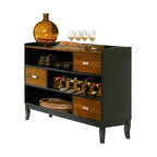 Coaster - Coaster Boyer 3 Drawer Buffet Server in Two-Tone Cherry and Black - Coaster - Buffet Tables and Sideboards - 102095