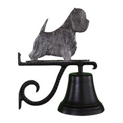 Cast Bell with Swedish Iron West Highland White Terrier - Distinctively handsome, just like your westie, only the one perched on the Cast Bell with Swedish Iron West Highland White Terrier Ornament has a striking iron finish. This bell is made of durable aluminum, features a weather-resistant, black enamel finish, and includes a scrolled mounting bracket.