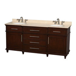 """72"""" Double Bathroom Vanity in Dark Chestnut With Marble Top, Undermount Sinks - If your bathroom's asking you for a facelift, the Berkeley is a worthy choice. At once elegant, classic and contemporary, the Berkeley vanity lends an air of sophistication and charm to any bathroom, from a Soho penthouse to a rustic country home. Carefully hand built to last for decades and finished in Dark Chestnut or White, this solid wood vanity has counter options to compete the timeless look."""