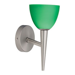 Dainolite - Dainolite 1LT Sconce Green - Satin Chrome Wall Lamp Blue Green Glass