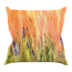 "Kess InHouse - Rosie Brown ""Welcome Spring"" Orange Green Throw Pillow (16"" x 16"") - Rest among the art you love. Transform your hang out room into a hip gallery, that's also comfortable. With this pillow you can create an environment that reflects your unique style. It's amazing what a throw pillow can do to complete a room. (Kess InHouse is not responsible for pillow fighting that may occur as the result of creative stimulation)."