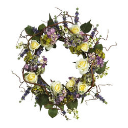 Nearly Natural - Hydrangea Rose Wreath - Not for outdoor use. Roses and hydrangea create this incredible wreath. Includes random twigs and leaves. Make any room extra special. 24 in. Diam (3lbs)Capture the beauty of spring with this dynamic combination of hydrangeas and roses. This luminous wreath makes the perfect centerpiece for your living room wall or display above a fireplace. A mix of blooming roses and pastel colored hydrangea petals create a look that is second to none. Surrounded by natural looking twigs and a dusting of berries, this authentic work of art will have the birds and bees flocking at your door.