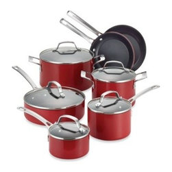 Circulon - Circulon Genesis Aluminum Nonstick 12-Piece Cookware Set in Red - Melding striking modern looks with lasting performance, each premium piece in this Genesis Aluminum Nonstick Cookware set features durable aluminum construction, a vibrant porcelain enamel exterior and a nonstick TOTAL Food Release System.