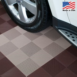 BlockTile Flooring Perforated Interlocking Tiles - 30 Pack - The BlockTile Perforated Flooring Interlocking Tiles - 30 Pack perforated interlocking floor tiles are pefect for adding some flavor to any garage. With their dual grid perforated design the tiles tend to look two-toned when viewed at an angle. The tiles are crafted of high-impact polypropylene capable of supporting heavy loads. The tiles are rigid but they will conform to a slightly uneven surface and will support the weight of your patio furniture. The mesh design allows full air and water flow and the tiles feature UV protection for use in direct or partial sunlight. The non-slip surface ensures safety. The perforated tiles use a loop-to-peg interlocking system making installation as simple as snapping the tiles together. About BlockTile Specializing in interlocking tiles for garages basements patios and much more BlockTile is your go-to source for simple floor renovation -- and innovation. The company's interlocking tiles are crafted specifically for flooring needs where moisture-resistance portability and strength are needed. The tiles are easy to install and add substantial style to any setting.