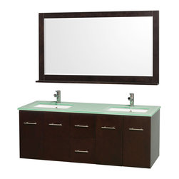 Wyndham Collection - Double Sink Bathroom Vanity Set - Includes two square porcelain undermount sink and matching mirror with shelf. Faucet not included. Four functional doors. Two functional drawers. Plenty of storage and counter space. Single faucet hole mount. Green glass top. Engineered to prevent warping and last a lifetime. 12 stage wood preparation, sanding, painting and finishing process. Highly water resistant low V.O.C. sealed finish. Unique and striking contemporary design. Modern wall mount design. Deep doweled drawers. Fully extending under mount soft close drawer slides. Concealed soft close door hinges. Made from solid oak hardwood. Espresso and brushed chrome exterior hardware finish. Vanity: 60 in. W x 22.25 in. D x 22.75 in. H. Mirror: 58 in. L x 33 in. H. Care Instruction. Assembly instructions - Vanity. Assembly instructions - Counter Top. Assembly instructions - Undermount Sink. Assembly instructions - MirrorSimplicity and elegance combine in the perfect lines of the Centra vanity by the (No Suggestions) Collection. If cutting edge contemporary design is your style then the Centra vanity is for you modern, chic and built to last a lifetime. You'll never hear a noisy door again! The attention to detail on this beautiful vanity is second to none.