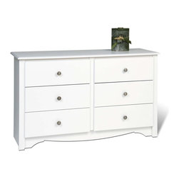 Prepac - Monterey Kids Dresser w 6 Drawers - Organize your bedroom efficiently with this large dresser that comes with six amply sized drawers. Its design includes such subtleties as a profiled top and routed kick plate to add to its fresh white finish. * Includes a tipping restraint and instruction booklet. Detailed with curved top edges, side moldings and scalloped base panel. Drawers run smoothly on metal glides with built-in safety stops. Clear lacquered real wood drawer sides. Solid dark pewter knobs. CARB-compliant. Warranty: 5 years limited. Made from laminated composite woods with a sturdy MDF backer. Durable white laminate finish. Made in North America. Assembly required. Drawer: 18.5 in. W x 12.5 in. D x 5 in. H. Overall: 48 in. W x 16 in. D x 29 in. HDo you know a small person who needs big storage? The Monterey Children�۪s 6 Drawer Dresser is perfectly designed to fit in small, kid-sized bedrooms, and offers big space-saving potential. Kids can store all their clothing and other items in the six drawers and not worry about losing valuable space to play in. Attractive, durable and compact, this dresser is perfect for the child in your life.