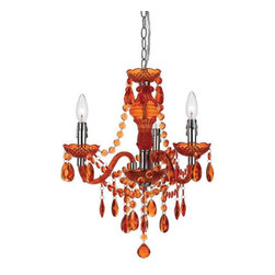 angelo:HOME - angelo:HOME Fulton 8500-3H Mini Chandelier - Orange Multicolor - 8500-3H - Shop for Chandeliers from Hayneedle.com! Orange crystals hang like dripping hot lava on the eye-catching Angelo Surmelis Fulton Mini Chandelier Orange. This three-light chandelier exudes an edgy elegance sure to add richness and sparkle to any room in your home. The plastic beaded design is bright and durable and the metal frame provides stability and a shiny chrome finish. This hanging chandelier can be hard wired or plugged in to best suit your needs. Light bulbs are not included.About angelo:HOME:When he was 6 Angelo Surmelis and his family moved from Greece to the United States. In their new home 6-year-old Angelo started dragging furniture around rearranging it. From that early age he believed that your space - and the way it's arranged - can change the way you feel. This philosophy has landed him on design series on TLC Lifetime The Style Network and HGTV as well as several different television talk shows. Now with Angelo's line of furniture and accessories you can change your space - and the way you feel - quickly and affordably.