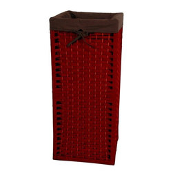 "Oriental Furniture - 28"" Natural Fiber Laundry Hamper - Mahogany - This is a sturdy, light weight, and attractive square shaped basket, tall and narrow, with a 101 practical uses around the home. Throw dog or toddlers toys inside, gloves and scarves, umbrellas and walking sticks. The advantage is there is no lid to get in the way, a simple and very useful home decor accessory. Well crafted from spun plant fiber cord interwoven with 1/4"" wood dowel rods on a light weight wood frame."