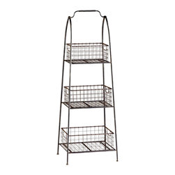Kathy Kuo Home - Essex Farmhouse Cottage Floor Standing Basket Shelf - Industrial lofts, country cottages, rustic farmhouses and any vintage influenced space will find this three tiered iron basket stand a welcome addition.  Whether housing produce or large plants, there's ample storage and style in this piece.