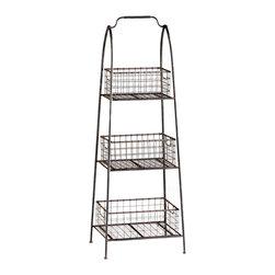 Kathy Kuo Home - Essex Farmhouse Cottage Floor Standing Basket Shelf ...
